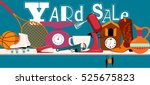 yard sale banner with assorted... | Shutterstock .eps vector #525675823