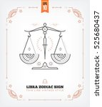 vintage thin line libra zodiac... | Shutterstock .eps vector #525680437