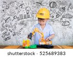 little engineer plays with toy... | Shutterstock . vector #525689383