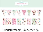 birthday bunting flags set.... | Shutterstock .eps vector #525692773