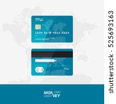 blue credit card vector... | Shutterstock .eps vector #525693163
