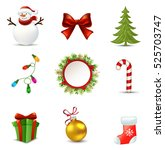 christmas icons set.vector... | Shutterstock .eps vector #525703747