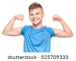 thin caucasian teen boy wearing ... | Shutterstock . vector #525709333