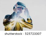 the man with glasses of virtual ... | Shutterstock . vector #525723307