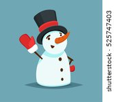 happy snowman in black hat and... | Shutterstock .eps vector #525747403