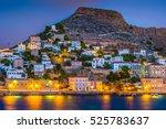 hydra island on a summer night... | Shutterstock . vector #525783637