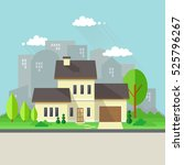house with garden and city... | Shutterstock .eps vector #525796267