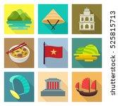 vietnam travel icon set | Shutterstock .eps vector #525815713