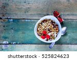 cereal. breakfast with muesli ... | Shutterstock . vector #525824623