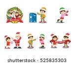 christmas family cartoon set | Shutterstock .eps vector #525835303