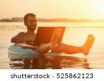 businessman with a laptop on... | Shutterstock . vector #525862123