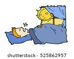 tired lazy man sleep in the bed ... | Shutterstock .eps vector #525862957