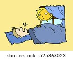 tired lazy man sleep in the bed ... | Shutterstock .eps vector #525863023