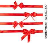 set of red ribbon satin bows... | Shutterstock . vector #525863527