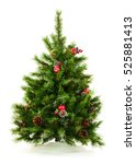 green decorated christmas tree... | Shutterstock . vector #525881413