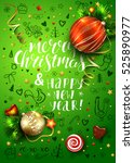 christmas vector green card... | Shutterstock .eps vector #525890977