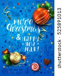 christmas vector blue card with ... | Shutterstock .eps vector #525891013