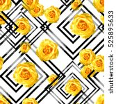 seamless pattern with flowers... | Shutterstock . vector #525895633