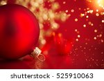 golden and red christmas... | Shutterstock . vector #525910063