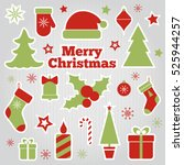 christmas festive stickers. set ... | Shutterstock . vector #525944257