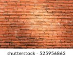 Small photo of Red bricks construction on the wall in historical park which was repair in many year ago under sun light in evening