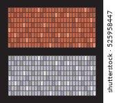 vector set of roof tiles. brown ... | Shutterstock .eps vector #525958447