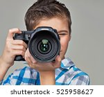 boy  with photo camera... | Shutterstock . vector #525958627
