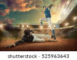 baseball players in action on... | Shutterstock . vector #525963643