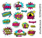 fashion patch badges with lips  ... | Shutterstock .eps vector #525964393