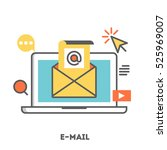 a laptop with email... | Shutterstock .eps vector #525969007
