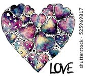 banner with watercolor heart... | Shutterstock . vector #525969817