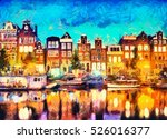 Amsterdam Canal Houses Oil...
