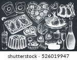 valentine's day food and drinks ... | Shutterstock .eps vector #526019947
