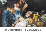 friends eating pizza party... | Shutterstock . vector #526022833