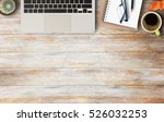 notebook  laptop glasses and... | Shutterstock . vector #526032253