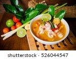 tom yam kong or tom yum  tom... | Shutterstock . vector #526044547