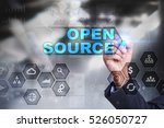 Stock photo businessman is drawing on virtual screen open source concept 526050727