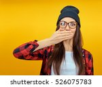 excited surprised young woman... | Shutterstock . vector #526075783