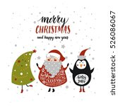 merry christmas card with cute... | Shutterstock .eps vector #526086067