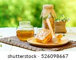 honeycomb with jar and bee... | Shutterstock . vector #526098667