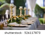wedding setting with flowers... | Shutterstock . vector #526117873