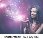 girl blowing magic stars | Shutterstock . vector #526129483