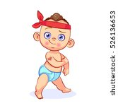 comical strong baby boy in... | Shutterstock .eps vector #526136653