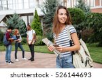 happy cute young woman student... | Shutterstock . vector #526144693