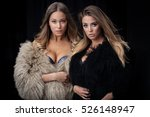 two young ladies in fur coats... | Shutterstock . vector #526148947