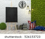 easel with blank black poster... | Shutterstock . vector #526153723