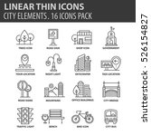 Set Of Thin Line Flat Icons....