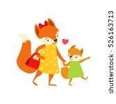 fox mom in dress with handbag... | Shutterstock .eps vector #526163713