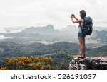young lady hiker with backpack... | Shutterstock . vector #526191037