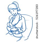 happy young woman  mother... | Shutterstock .eps vector #526197283